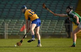 6 April 2016; Ian Murray, Clare, shoots to score his side's first goal. Electric Ireland Munster GAA Hurling Minor Championship, Quarter-Final, Limerick v Clare. Gaelic Grounds, Limerick. Picture credit: Diarmuid Greene / SPORTSFILE