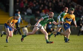 6 April 2016; Conor Nicholas, Limerick, in action against Ian Murray, left, and Gary Cooney, Clare. Electric Ireland Munster GAA Hurling Minor Championship, Quarter-Final, Limerick v Clare. Gaelic Grounds, Limerick. Picture credit: Diarmuid Greene / SPORTSFILE