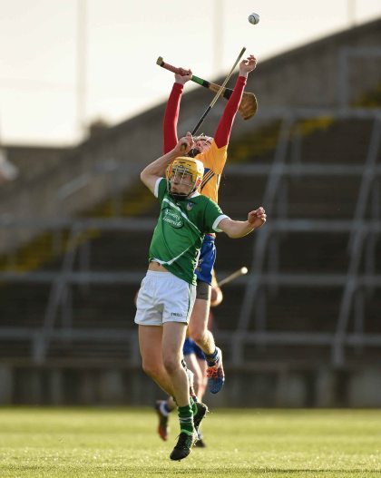6 April 2016; Cal McCarthy, Limerick, in action against Conor Tierney, Clare. Electric Ireland Munster GAA Hurling Minor Championship, Quarter-Final, Limerick v Clare. Gaelic Grounds, Limerick. Picture credit: Diarmuid Greene / SPORTSFILE