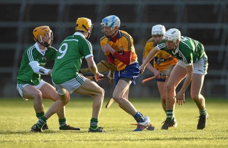 6 April 2016; Conor Tierney, Clare, in action against Darragh Carroll, Cal McCarthy, and Josh Adams, Limerick. Electric Ireland Munster GAA Hurling Minor Championship, Quarter-Final, Limerick v Clare. Gaelic Grounds, Limerick. Picture credit: Diarmuid Greene / SPORTSFILE