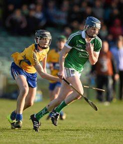 6 April 2016; Brian Nash, Limerick, in action against Sean O'Loughlin, Clare. Electric Ireland Munster GAA Hurling Minor Championship, Quarter-Final, Limerick v Clare. Gaelic Grounds, Limerick. Picture credit: Diarmuid Greene / SPORTSFILE