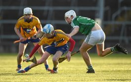 6 April 2016; Conor Tierney, Clare, in action against Josh Adams, Limerick. Electric Ireland Munster GAA Hurling Minor Championship, Quarter-Final, Limerick v Clare. Gaelic Grounds, Limerick. Picture credit: Diarmuid Greene / SPORTSFILE