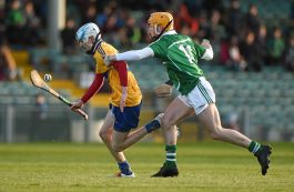 6 April 2016; Conor Tierney, Clare, in action against Darragh Carroll, Limerick. Electric Ireland Munster GAA Hurling Minor Championship, Quarter-Final, Limerick v Clare. Gaelic Grounds, Limerick. Picture credit: Diarmuid Greene / SPORTSFILE