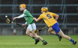 6 April 2016; Darragh Carroll, Limerick, in action against Tobias O'Meara, Clare. Electric Ireland Munster GAA Hurling Minor Championship, Quarter-Final, Limerick v Clare. Gaelic Grounds, Limerick. Picture credit: Diarmuid Greene / SPORTSFILE
