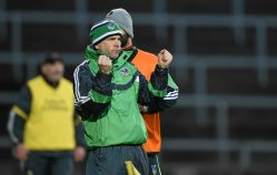 6 April 2016; Limerick manager Pat Donnelly celebrates after Josh Ryan scored their second goal. Electric Ireland Munster GAA Hurling Minor Championship, Quarter-Final, Limerick v Clare. Gaelic Grounds, Limerick. Picture credit: Diarmuid Greene / SPORTSFILE