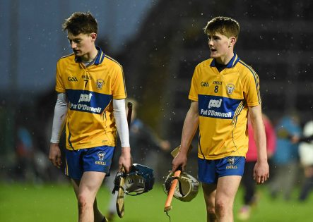 6 April 2016; Clare's Pa Mulready, left, and Ross Hayes after defeat to Limerick. Electric Ireland Munster GAA Hurling Minor Championship, Quarter-Final, Limerick v Clare. Gaelic Grounds, Limerick. Picture credit: Diarmuid Greene / SPORTSFILE