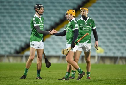 6 April 2016; Limerick's Conor Boylan, Cian Magnier Flynn and Brian Ryan after victory over Clare. Electric Ireland Munster GAA Hurling Minor Championship, Quarter-Final, Limerick v Clare. Gaelic Grounds, Limerick. Picture credit: Diarmuid Greene / SPORTSFILE