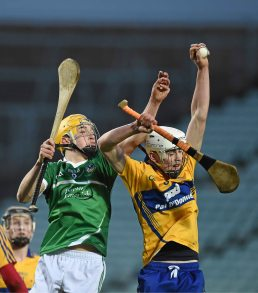 6 April 2016; Ross Hayes, Clare, in action against Cal McCarthy, Limerick. Electric Ireland Munster GAA Hurling Minor Championship, Quarter-Final, Limerick v Clare. Gaelic Grounds, Limerick. Picture credit: Diarmuid Greene / SPORTSFILE