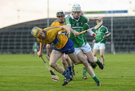 6 April 2016; Conor Tierney, Clare, in action against Mark O'Dwyer, Limerick. Electric Ireland Munster GAA Hurling Minor Championship, Quarter-Final, Limerick v Clare. Gaelic Grounds, Limerick. Picture credit: Diarmuid Greene / SPORTSFILE