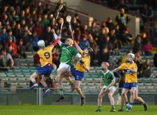 6 April 2016; Darragh Carroll, Limerick, in action against Conor Tierney, left, and David Fitzgerald, Clare. Electric Ireland Munster GAA Hurling Minor Championship, Quarter-Final, Limerick v Clare. Gaelic Grounds, Limerick. Picture credit: Diarmuid Greene / SPORTSFILE