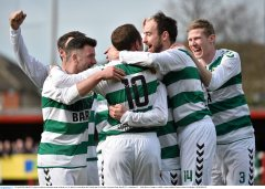 10 April 2016; Sheriff YC players celebrate with team-mate Jon Rock, no. 10, after he scored their side's fourth goal. FAI Junior Cup Semi-Final, Sheriff YC v Janesboro FC. Tolka Rovers Complex, Griffith Avenue, Dublin. Picture credit: Paul Mohan / SPORTSFILE