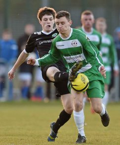 20 April 2016; Jason Mullins, Pike Rovers, in action against David Brooks, St. Peters FC. The Final will take place at the Aviva Stadium on the 14th May. #RoadToAviva. FAI Junior Cup Semi-Final Replay in association with Aviva and Umbro, St. Peters FC v Pike Rovers. Leah Victoria Park, Tullamore, Offaly. Picture credit: Matt Browne / SPORTSFILE