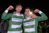 20 April 2016; Pike Rovers goal scorers Steven McGann and John Connery celebrate after the game. The Final will take place at the Aviva Stadium on the 14th May. #RoadToAviva. FAI Junior Cup Semi-Final Replay in association with Aviva and Umbro, St. Peters FC v Pike Rovers. Leah Victoria Park, Tullamore, Offaly. Picture credit: Matt Browne / SPORTSFILE