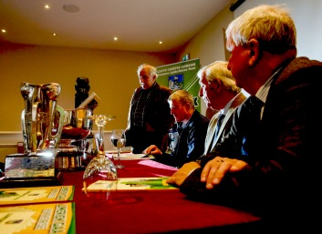 Limerick GAA launch their book On The Rise' at the Fitzgerald Woodlands House Hotel. Matt O'Callaghan, Editor and Chairman of the committee, John Kiely, Limerick Under 21 Team Manager, Chairman of the County Board, Oliver Mann and Eamonn Phelan, PRO Limerick County Board. Picture: Keith Wiseman