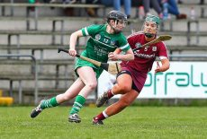 REPRO FREE***PRESS RELEASE NO REPRODUCTION FEE*** Irish Daily Star National League Division 1 Semi-Final, St. Brendan's Park, Birr, Co. Offaly 16/4/2016 Galway vs Limerick Limerick's Niamh Mulcahy in action against Galway's Emma Helebert Mandatory Credit ©INPHO/Ken Sutton
