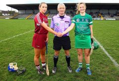 REPRO FREE***PRESS RELEASE NO REPRODUCTION FEE*** Irish Daily Star National League Division 1 Semi-Final, St. Brendan's Park, Birr, Co. Offaly 16/4/2016 Galway vs Limerick Galway captain, Niamh Kilkenny with referee Cathal Egan and Limerick captain, Lorraine McCarthy Mandatory Credit ©INPHO/Ken Sutton
