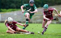 REPRO FREE***PRESS RELEASE NO REPRODUCTION FEE*** Irish Daily Star National League Division 1 Semi-Final, St. Brendan's Park, Birr, Co. Offaly 16/4/2016 Galway vs Limerick Limerick's Caoimhe Costello attempts to get possession from Galway's Shauna Burke and Siobhan Coen Mandatory Credit ©INPHO/Ken Sutton