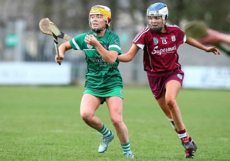 REPRO FREE***PRESS RELEASE NO REPRODUCTION FEE*** Irish Daily Star National League Division 1 Semi-Final, St. Brendan's Park, Birr, Co. Offaly 16/4/2016 Galway vs Limerick Limerick's Karen O'Leary in action against Aoife Callanan of Galway Mandatory Credit ©INPHO/Ken Sutton