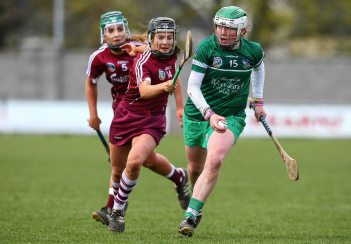 REPRO FREE***PRESS RELEASE NO REPRODUCTION FEE*** Irish Daily Star National League Division 1 Semi-Final, St. Brendan's Park, Birr, Co. Offaly 16/4/2016 Galway vs Limerick Limerick's Sinead McNamara is chased by Galway's Aoife Donoghue Mandatory Credit ©INPHO/Ken Sutton