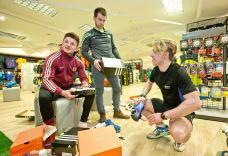 Elverys Galway Footbal and Hurling teams 8/4/2016 Eoghan Kerin and Cathal Silke with Elvery's Mark Rohan Mandatory Credit ©INPHO/Morgan Treacy