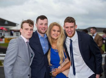07.04.2016 REPRO FREE Limerick Racecourse welcomed thousands of students to yet another sell out student raceday at Greenmount Park sponsored by Coral.ie. Attending the event were University of Limerick students, Ronan Broderick, Ben Derham, Savannah Cowman and James Coffey. Picture: Alan Place/Fusionshooters