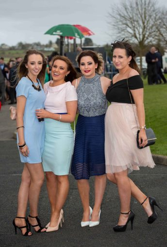 07.04.2016 REPRO FREE Limerick Racecourse welcomed thousands of students to yet another sell out student raceday at Greenmount Park sponsored by Coral.ie. Attending the event were University of Limerick students, Alison Guinan, Sophie O'Dwyer, Katriona Kot and Aine Beaty. Picture: Alan Place/Fusionshooters