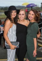 07.04.2016 REPRO FREE Limerick Racecourse welcomed thousands of students to yet another sell out student raceday at Greenmount Park sponsored by Coral.ie. Attending the event were Mary Immaculate College students, Nicola Murray, Shauna Brett and Amy Coughlan. Picture: Alan Place/Fusionshooters