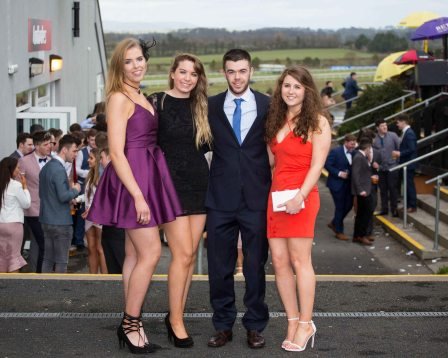 07.04.2016 REPRO FREE Limerick Racecourse welcomed thousands of students to yet another sell out student raceday at Greenmount Park sponsored by Coral.ie. Attending the event were, Niamh Crowne, Cork, Katie O'Brien, UL, Tom Healy, UL and Alice O'Shaughnessy, UCC. Picture: Alan Place/Fusionshooters