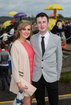 07.04.2016 REPRO FREE Limerick Racecourse welcomed thousands of students to yet another sell out student raceday at Greenmount Park sponsored by Coral.ie. Attending the event were, Laura Ryan, CIT and Neill Culhane, Hertfordshire. Picture: Alan Place/Fusionshooters